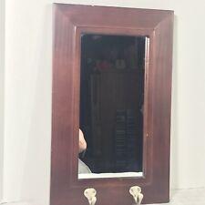Wall Mirror Wood Frame Key Hooks