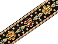 """1½ """" Wide Finest Hand-Beaded Trim Old World Artistry Floral Gold Bullion 1 Yard"""
