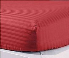 Only Fitted Sheet (Extra PKT) US Size Pima Cotton 1000 TC Burgundy Stripe