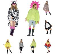 NEW Adult Men's Ladies Waterproof Animal Print Party Poncho Festival Fancy Dress