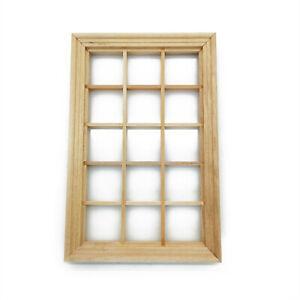 Dollhouse Furniture Wooden 15 Pane Window 1:12 Miniature DIY Accessories