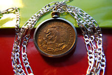 "<>Mexican Snake & Eagle Bright Brass Coin on a 30"" Sterling Silver Chain *23mm"