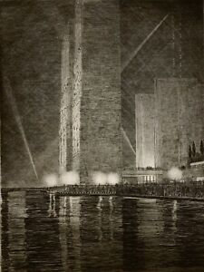 GERALD K. GEERLINGS Lithograph GRAND CANAL AMERICA Chicago Worlds Fair 1933