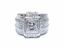 Mens Platinum Princess & Round Cut 9.80tcw White Diamond Multi Set Big Ring