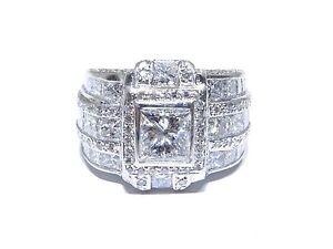 Mens Platinum Princess & Round Cut 9.80tcw White Diamond Multi Set Big Ring