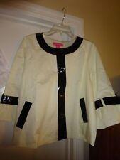 Women's DU JOUR Size XL Winter White with Black Leatherette Trim Jacket NEW