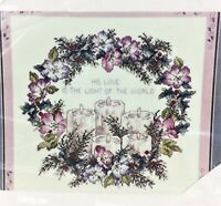 Counted Cross Stitch Kit - CANDLE WREATH - Janlynn - 14 Ct Fabric - Vintage