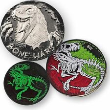 Bone Wars Geocoin - Black Nickel Dinosaurier Skelett Dino Geocaching Coin Tb