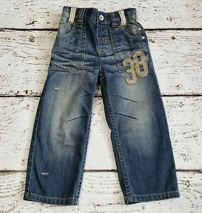 NEXT DIRECT Boys Denim 38 Embroidered Distressed Wiskering Jeans 2 2T 3 3T EUC