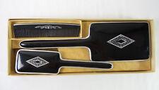 Vintage Art Deco Vanity Dresser Set Brush Mirror Comb Black Silver Circa 1930's
