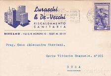 * BERGAMO - Testatina Pubblicitaria Riscaldamenti Luraschi & De Vecchi 1952