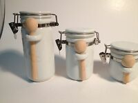 Mini Canister Jars w/ wood spoons SET  White Ceramic