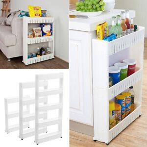 3/4/5 Tier Slim Slide Out Kitchen Storage Trolley Cart Spice Jar Rack Holder
