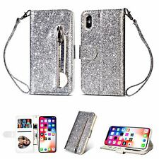 Luxury Glitter Bling Leather Zipper Wallet Card Case Cover for iPhone 8 Plus/8+