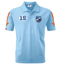 Gulf Racing Blue Polo Shirt By Nicolas Hunziker Porsche 908/3 Targa Victory  2XL