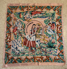 50s Novelty Print Romance Mexican Souvenir Scarf Travel Tourist Sweetheart Vtg