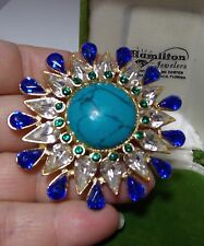 Huge Vintage Gold Snowflake Star Sapphire Emerald Marquise Turquoise Brooch