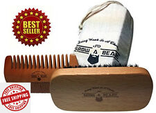 Men Brown Bamboo Moustache Beard Comb Boar Bristle Brush Style Gift Set With Bag