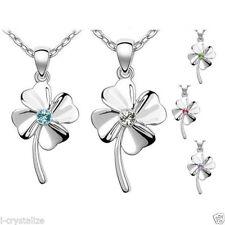 Flowers Plants Crystal Round Costume Necklaces & Pendants
