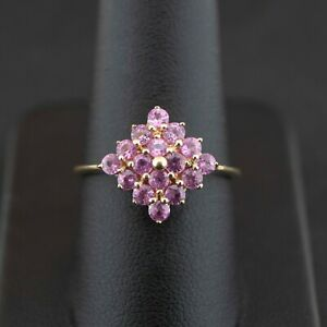 (NE6) 9ct Yellow Gold Pink Topaz Square Cluster Ring 2.0 Grams Size Q 1/2