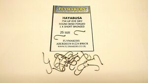 25 HAYABUSA UP EYE DRY TROUT FLY FISHING HOOKS CODE FLY 754 FLYMAKERS