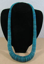 """Vintage Green Blue Graduated Coco Wheel Disc Bead 26"""" Fashion Necklace"""