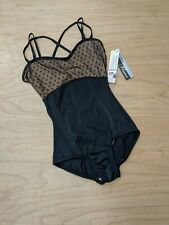 Body Wrappers Girls Leotard Dance Diamond Mesh Cross Back Cami Leotard Black