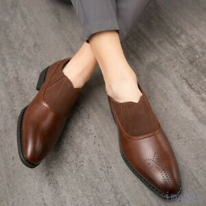 Fashion Mens Round Toe Oxfords Slip On Pumps Carving Dress Formal Casual Shoes