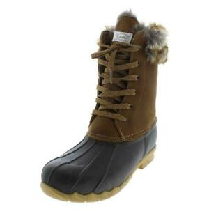 Sporto Womens Agnes Tan Leather Pac Boots Winter Faux Fur Waterproof Shoes 7