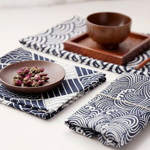 Cotton Linen Customed Tablecloth Cover Placemat Table Decor Print Round Blue CB