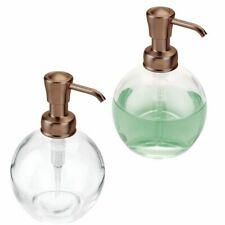 mDesign Round Glass Refillable Liquid Soap Pump, 2 Pack - Clear/Venetian Bronze