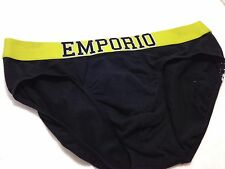 $48 EMPORIO ARMANI Mens BLACK COTTON STRETCH Brief Eagle Logo 110814 SIZE S