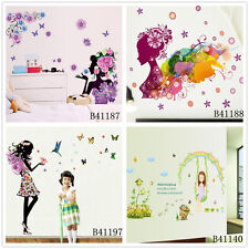 Girl Cartoon Flowers Home Room Decor Removable Wall Stickers Decal Decoration