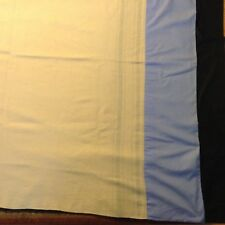"Vtg WOOL BLANKET Ivory w/ Stripes 71x55"" Clean, no marks. Fraying along stripes"