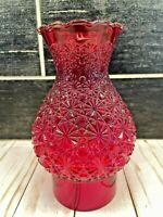 Vtg Ruby Red Glass Hurricane Chimney Shade Globe Sconce Starburst MCM Atomic