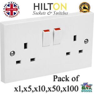Double Sockets OR Twin Socket White Plastic  ***Best Quality** HILTON SQSS2