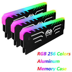 PC Memory RAM Cooler Cooling Vest Heat Sink 256 RGB Light Aluminum Heats^lk