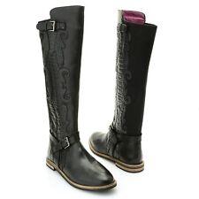 Sharif Croco Trim Buckle Detail Leather Knee High Riding Boots Shoes BLK sz 10