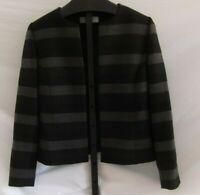 Tahari Arthur S Levine black Gray Striped Lined Blazer jacket Misses Size 8 Poly