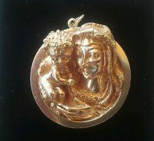 RUSER 14K GOLD VIRGIN MARY & BABY JESUS PENDANT WORK OF ART ONE OF A KIND 1951.