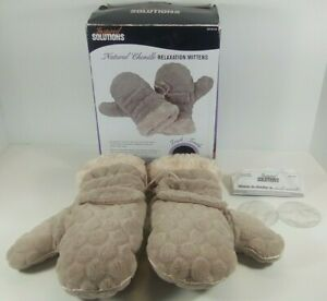 Inspired Solutions Relaxation Mittens Natural Chenille Stress Release Heated Gel