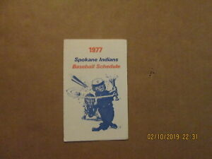 Spokane Indians Vintage Circa 1977 Team Logo Baseball Pocket Schedule