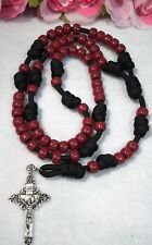 Paracord Rosary-Maroon Plastic Beads Rosary - Handmade In USA