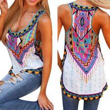 Women Bohemia O Neck Sleeveless Tank Tops Ladies Summer Blouse T-Shirt