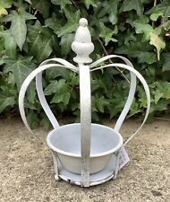 SMALL SHABBY CHIC PAINTED METAL CROWN CANDLE HOLDER OR SUCCULENT PLANTER