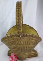 Vintage Solid BRASS Basket with Handle 8 1/4 inches tall by 5 3/4