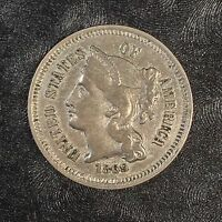 1869 Three Cent Nickel - High Quality Scans #D528