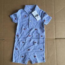 Polo Ralph Lauren Schiffli Babygrow 18m RRP £65+ Blue And White BNWT