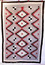 "Navajo Indian Rug 6'3""x4'5"" with Diamond Motif c.1930 Handspun Wool Traditional"