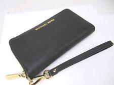 Michael Kors Jet Set Black Saffiano Leather Large Flat MF Phone Case Wristlet